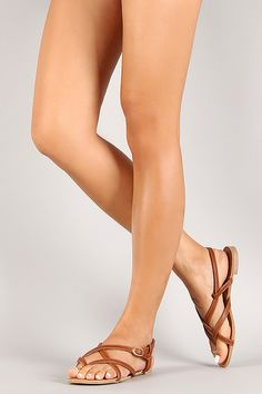Qupid Leatherette Strappy Sling Back Thong Sandal