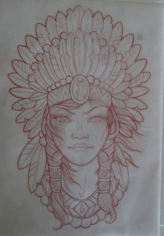 The headdress though. Tattoo Sketches, Tattoo Drawings, Body Art Tattoos, Girl Tattoos, Art Drawings, Native American Tattoos, Native Tattoos, Native American Art, American History