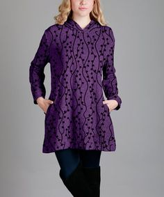 Purple & Black Abstract Hood Tunic - Plus Too #zulily #zulilyfinds