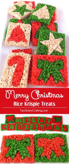 Merry Christmas Rice Krispie Treats - We used Christmas Cookie Cutters to make these adorable and yummy Christmas Treats. It'is a colorful and festive Christmas Dessert that everyone will love. Follow us for more great Christmas Food ideas. Christmas Snacks, Holiday Treats, Christmas Fun, Holiday Recipes, Christmas Parties, Christmas Recipes, Christmas Cookies, Winter Treats, Christmas Central