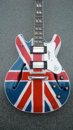 Noel Gallagher Union Jack Miniature Guitar RGM65 by Paulasframes