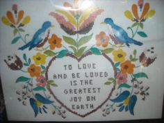 To Love and Be Loved Fraktur Birds Stamped Cross Stitch  and Crewel Kit NO Yarn