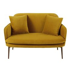 Mustard Yellow Velvet Sofa Bench Sacha on Maisons du Monde. Take your pick from our furniture and accessories and be inspired! Green Velvet Sofa, Yellow Sofa, Mustard Bedding, Banquette 2 Places, Room Of One's Own, Sofa Bench, Living Room Arrangements, Modular Sofa, Sofa Furniture