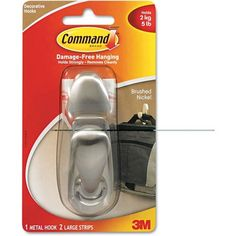 3M Scotch Command Adhesive-Mount Metal Hook, Large, Brushed Nickel Finish, Silver