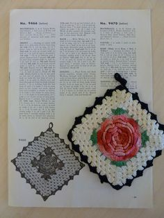 FREE Vintage Rose Potholder Pattern | crochet today  I think I actually have this old potholder of my Mom's in my linens