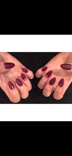 Matte burgundy gem acrylic nails