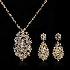 Alloy Silver/Gold Plated With  Rhinestone Bridal Jewelry Set(Including Necklace,Earrings)(More Colors) – USD $ 17.99