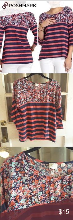 Postmark by anthropologi Floral and striped navy blue and pink half sleeves relax fit tshirt 19 inches from armpit to armpit 23 inches from shoulder to bottom of shirt Anthropologie Tops Tees - Long Sleeve