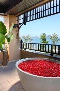 Romantic bathtub with petals at Amari Vogue, Krabi