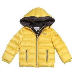 Armani Junior boys Bright yellow winter jacket for boys with inside west