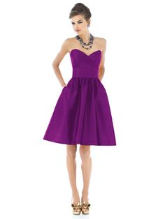 Alfred Sung Style D540. Color= Dallia. Strapless cocktail length dupioni dress with draped bodice and pleated midriff. Full shirred skirt has pockets at side seams.
