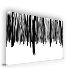 Black and White Forest Abstract Wall Art Canvas Print Artwork