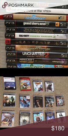 Ps3 Games Lot Bundle 15: GTA5, COD, Minecraft SM 1.Call of Duty Advanced Warfare 2. Grand Theft Auto 5 3. Minecraft Story Mode (loaded with all 8 episodes purchased) 4. Uncharted 2 Among Thieves 5. Uncharted 3 Drake's Deception (Sealed) 6. Starhawk 7. Little Big Planet 2 Special Edition 8. Little Big Planet Game of the Year Edition 9. Resistance Fall of Man 10. Rayman Origins 11. Call of Duty Modern Warfare Collection (COD Modern Warfare 2 and COD 4 Modern Warfare 1) 12. Call of Duty…