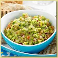 A fresh Greek-style Avocado Salsa, a perfect addition to tapas!