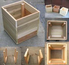 14 Square Planter Box Plans Best for DIY Free) Best selection of free woodworking DIY plans for building a square planter box. Square planters for every style and taste. Easy, simple and all beautiful. Wooden Planter Boxes Diy, Square Planter Boxes, Outdoor Planter Boxes, Planter Box Plans, Wood Planters, Wooden Diy, Pallet Planter Box, Garden Planters, Modern Outdoor Chairs