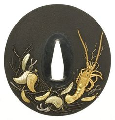 Naotomo - Crustacean with Leaves & Feathers Tsuba. Shibuichi with Gold & Silver Inlays. Japan. Edo Period, Late-18th to Early-19th Centuries.