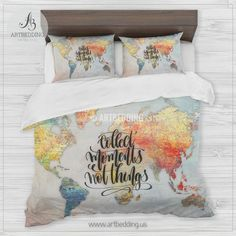 Boho chic world map bedding watercolor quote duvet cover set boho brick wall world map bedding travel map collect memories duvet cover gumiabroncs Choice Image