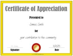 Printable Certificate Templates Low Ink  Volunteer Recognition