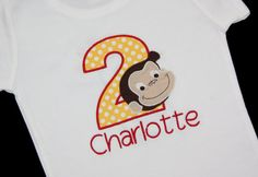 Girls Curious George Tshirt Boy Curious George by BudsnBranches, $24.00