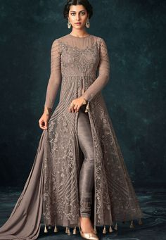 Grey Net Trouser Style Designer Suit 1205 is part of Dresses - Buy Grey Net Trouser Style Designer Suit 1205 online in USA, UK and Canada from KollyBollyEthnnics com