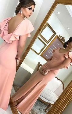 MACloth V Neck Sheath Blush Pink Long Prom Dress Jersey Formal Evening Gown