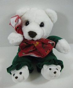 "White Christmas BEAR Holding Blankie Commonwealth Plush 10"" Toy B268"