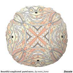 Beautiful complicated  pastel moroccan ornament. round pillow make interior unique and add aesthetics sense. Ornament create in oriental tradition. #Home #decor #Room #Interior #decorating #Idea #Styles