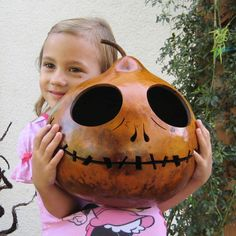 Halloween Gourd Jack O Lantern Large Natural by pinchmeboutique, $40.00