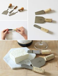 DIY Wine Cork Cheese Knives✖✖✖✖✖✖✖✖ sew-much-to-do: a visual collection of sewing tutorials/patterns, knitting, diy, crafts, recipes, etc.