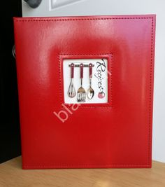 CR Gibson Red Leatherette Utensils A LA CARTE Pocket Page Recipe Book Organizer  #CRGibson