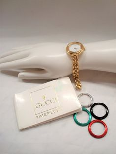 4b4e0c1d966 Vintage  LADIES GUCCI WATCH - Gold Plated (11 12.2) Ladies Watch - Interchangeable  Bezels - Original Paperwork - Great Vintage Condition