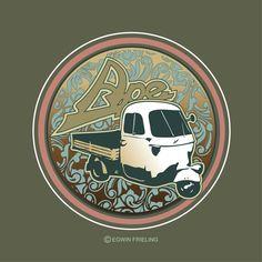 Ape Piaggio / jugendstil / art nouveau Vespa Ape, Piaggio Ape, Porsche Logo, Minis, Art Nouveau, Ford, Van, Design, Vans