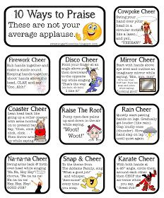 Sugar Blossoms: Classroom Cheers  Site includes videos showing examples of each cheer!  Love it!!