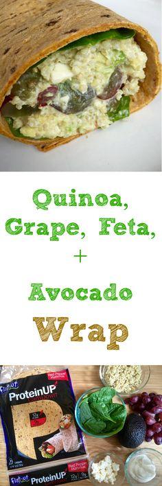 Quinoa Grape, Feta and Avocado Wrap in ProteinUp Flatout Flatbread.