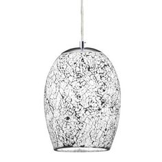 Searchlight 8069WH 1 light white crackle glass pendant | electricsandlighting.co.uk |