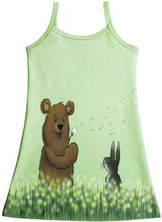 Materialen: * Tricot - Finch Fabrics, Dandelion Bears ( jurkje )  - 55 cm x 160 cm (1 paneel) ( maat 68 t/m 146 ) * Boords...