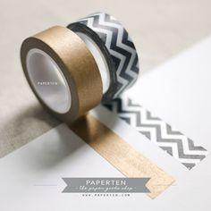 Chevron Black Metallic Gold Washi Tapes - Packaging - Gift Wrap - Decorative Tape - 2 Rolls (Item code: W520). $6.80, via Etsy.
