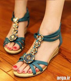 a6ac7d113b206a Buy Fashion Bohemia Beaded Sandals Gladiator T straps Low Wedges Summer  Shoes Open toe Slippers Rome Vintage Women Shoes at Wish - Shopping Made Fun