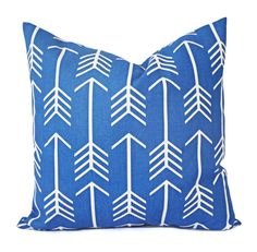 Two royal blue pillow covers in a cobalt and white arrow print. These blue decorative pillow covers fit any size pillow insert from a 12 x 16