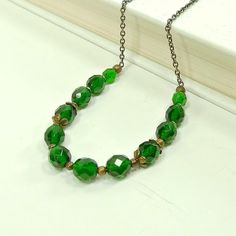 Emerald Green Necklace Beaded Green Jewelry by ReneeBrownsDesigns, $18.00