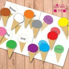 Folder Games - Itsy Bitsy Fun Freebie - Summer Time - Ice Cream Cone Color Matching File Folder Game - - DFreebie - Summer Time - Ice Cream Cone Color Matching File Folder Game - - D File Folder Activities, File Folder Games, File Folders, Folder Games For Toddlers, Toddler Learning, Learning Activities, Ice Cream Theme, Color Games, Color Activities