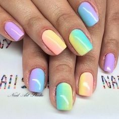 These nails are so cute! I like all the colors! #PastelNails #NailArt