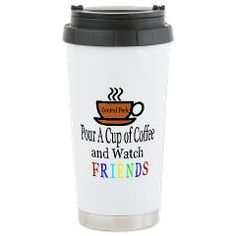 Friends Stainless Steel Travel Mug $23.99 Pour a cup of coffee and watch Friends, one of our many fan based designs on the Hit TV sitcom Friends. #FriendsTV Show #TVShowMerchandise