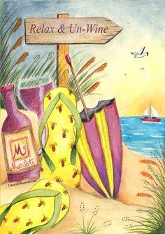 Toland Home Garden Relax and Un-Wine x Decorative USA-Produced Garden Flag Art Du Vin, Wine House, Wine Craft, Beach Gardens, Wine Quotes, I Love The Beach, Gif Animé, In Vino Veritas, House Flags