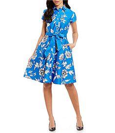 Leslie Fay Point Collar Short Sleeve Floral Print Cotton Shirt Dress #Dillards