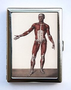 """Victorian Anatomy Cigarette Case Wallet Business Card Holder gothic odd medical. Case hold about 18 to 20 cigarettes. Or you can hold Ids, business cards or other things. The case is metal with two hinged side. This case opens through a side push button. The size of the case is 4 1/4"""" tall by 3 1/4"""" inches wide closed by 1/2"""" deep. Image is protected by clear epoxy."""