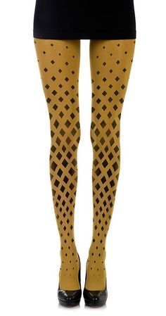 Diamonds Pattern Print Tights Mustard - Zohara - Free Shipping by Wirth, L