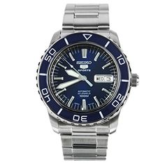 Men  Watches - Seiko 5 Sports SNZH53J1 Japan Mens Stainless Steel Blue Dial Automatic Watch *** Click on the image for additional details. (This is an Amazon affiliate link)