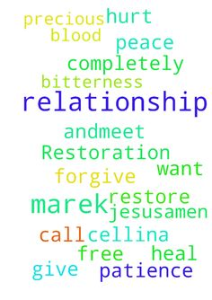 Restoration of relationship -  Cellina and Mareks relationship be restore in Jesus name, Amen. Give me peace and patience Lord Jesus, to forgive completely. Marek to call me andmeet too. I want to heal from hurt. I need to be free from bitterness, in the precious blood of Jesus,Amen. Thank you for praying.  Posted at: https://prayerrequest.com/t/ECa #pray #prayer #request #prayerrequest