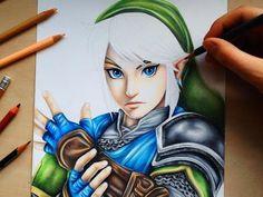 Il dessine Link au crayon de couleurs le rendu est magnfique